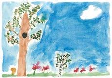 Naturaleza del verano de la pintura de los niños stock de ilustración