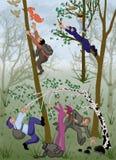 Naturaleza, dibujo, historieta, protección de la naturaleza, parásitos del bosque, hojas, bosque, árboles, verde, historieta, aca Imagenes de archivo