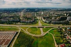 Naturaleza en Bielorrusia Visión desde el helicóptero, Minsk Imágenes de archivo libres de regalías