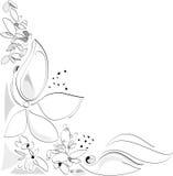 Naturaleza en el resorte - flores. Composición de la esquina. Blanco y negro. Ilustración artística del vector Foto de archivo libre de regalías