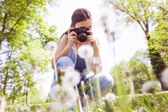 Naturaleza fotografiada femenina con la cámara vieja retra Foto de archivo libre de regalías