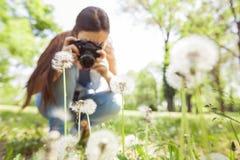 Naturaleza fotografiada femenina con la cámara vieja retra Foto de archivo