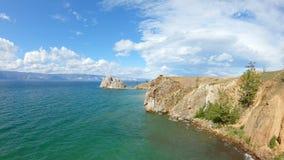 Naturaleza hermosa del lago Baikal Tiro a?reo almacen de video