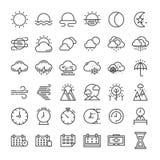 Naturaleza línea fina estacional y del tiempo sistema del icono stock de ilustración