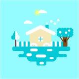 Naturaleza - paisaje del invierno Estilo plano del diseño Imagen de archivo