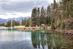 Naturaleza salvaje en Rocky Mountains, orilla del lago imagen de archivo libre de regalías
