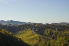 Naturaleza y viñedos hermosos con el cielo en la caída de Zagorje Imágenes de archivo libres de regalías