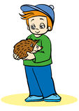 Naturalist. Boy holding a hedgehog on his hands Stock Photography