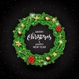 Naturalistic венок рождества ветвей сосны со звездами, Poinsettia и конфетами золота Сверкная оформление для веселого иллюстрация штока