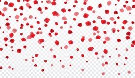 Naturalistic colorful falling rose petals on transparent background. Vector Illustration. EPS10 vector illustration