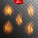 Naturalistic Fire on Dark Transparent Background. Vector Illustr Royalty Free Stock Image