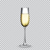 Naturalistic glass with festive champagne on transparent backgro. Und. Vector Illustration. EPS10 Stock Photos