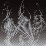 Naturalistische Rook op Donkere Transparante Achtergrond Vector illustratie eps10 Stock Foto's