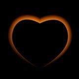 Naturalistisk brandhjärta på mörk bakgrund också vektor för coreldrawillustration Royaltyfria Bilder