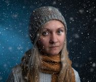 Naturally beautiful millennial woman in winter clothes royalty free stock images