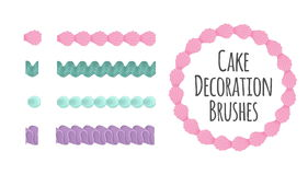 Naturally coloured realistic looking butter cream icing cake and dessert seamless decoration brushes. Drag the element Royalty Free Stock Photography