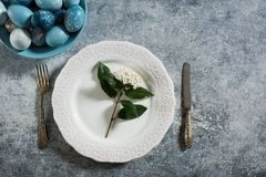 Naturally dyed Easter eggs, on te table setting Royalty Free Stock Photo