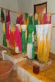 Naturally dyed lambswool yarn draining. Old dyeing house, La Granja, Mallorca Stock Photography