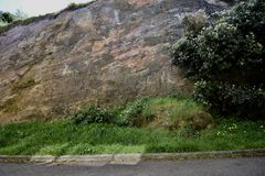 Naturally polished slickenside rock at Corona Heights Park, San Francisco, 8. stock images