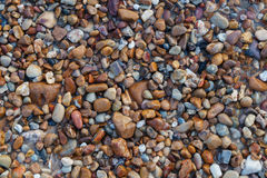 Naturally rounded gravel at sea shore, nature beach background texture Stock Images