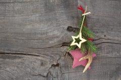 Naturalna boże narodzenie dekoracja z poroże i sprawdzać gwiazdą Zdjęcia Stock