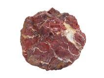 Naturalna czerwona jaspis skały próbka odizolowywająca na białym tle Obraz Stock