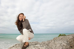 Naturalna dojrzała kobiety jesień burza Obraz Stock