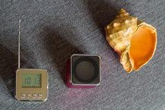 Naturalna fala Przenośny radiowy odbiorca, odtwarzacz mp3 i Seashell, Fotografia Royalty Free