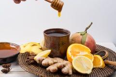 Naturalna grypa i zimny remedium - pomarańcze i cytryny owoc, świeży ging zdjęcie royalty free