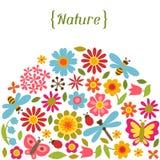 Naturalna karta z pięknymi kwiatami, ścigi i Zdjęcia Royalty Free