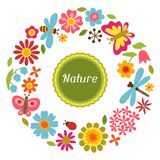 Naturalna karta z pięknymi kwiatami, ścigi i Zdjęcie Stock