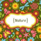 Naturalna karta z pięknymi kwiatami, ścigi i Fotografia Stock
