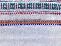 Naturalna samodziałowa kanwa z ukraińskimi etnicznymi ornamentami Obraz Stock