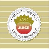 Naturalna sok etykietka z czerwonym jabłkiem również zwrócić corel ilustracji wektora royalty ilustracja