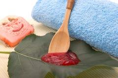 Naturalna truskawkowa pętaczka i naturalny mydło Obrazy Royalty Free