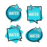 Naturalna woda, wektorowy logo, etykietki i majcherów szablony, Obraz Stock