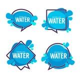 Naturalna woda, wektorowy logo, etykietki i majcherów szablony z a, Zdjęcia Royalty Free