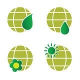 Naturalna zielona kuli ziemskiej ikony ilustracja Zdjęcie Royalty Free