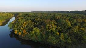 naturalnego krajobrazu otaczający lasowym brzeg rzeki Strzelać powietrze zbiory wideo