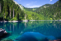 naturalnego krajobrazu Widok jeziorny Mały Ritsa Obraz Stock