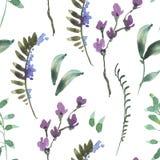 Naturalnej akwareli Botaniczny Bezszwowy wzór zieleń liście, Wildflowers, gałązki ilustracja wektor