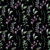 Naturalnej akwareli Botaniczny Bezszwowy wzór zieleń liście, Wildflowers, gałązki ilustracji