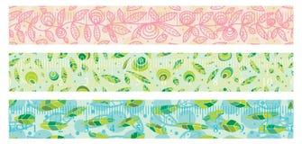 Naturalnej washi papierowej taśmy ustalony bezszwowy wzór Zdjęcia Royalty Free