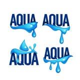 Naturalnej wiosny woda Bryzga i fala, Wektorowy logo, etykietki Fotografia Royalty Free