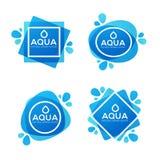 Naturalnej wiosny woda, wektorowy logo, etykietki i majcheru szablon, Zdjęcia Royalty Free