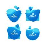 Naturalnej wiosny woda, wektorowy logo, etykietki i majcheru szablon, Zdjęcie Royalty Free