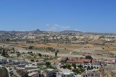 Naturalni domy Cappadocia region i krajobraz Obraz Stock