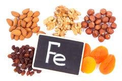 Naturalni składniki jako źródła żelazo, witaminy, kopaliny i żywienioniowy włókno, zdjęcie royalty free