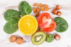 Naturalni składniki jako źródło potas, witamina K, kopaliny i włókno, zdjęcia stock