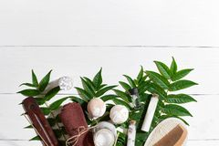 Naturalni zdroju i aromatherapy skincare piękna produkty z łazienek akcesoriami wliczając exfoliating pętaczek, oleje Fotografia Royalty Free